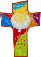 """Croce intagliata in polimero """"Colomba dello Spirito Santo"""" - altezza 14 cm"""