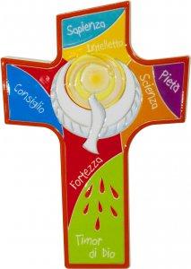 """Copertina di 'Croce intagliata in polimero """"Colomba dello Spirito Santo"""" - altezza 14 cm'"""
