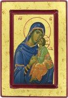 Icona Madonna della Tenerezza, produzione greca su legno - 20 x 14 cm