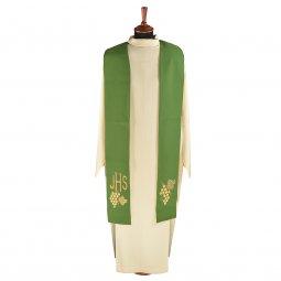 Copertina di 'Stola verde con grappolo d'uva e cristogramma IHS ricamati'