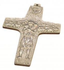"""Copertina di 'Croce in legno sintetico da appendere """"Buon pastore"""" - altezza 13 cm'"""