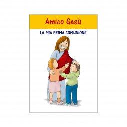 """Copertina di 'Libretto """"Amico Gesù - La mia Prima Comunione"""" con croce in legno d'ulivo con laccio - dimensioni 15x10 cm'"""