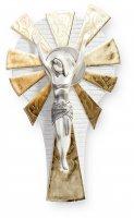 Crocifisso con raggi dorati e Cristo in resina argentata - altezza 23 cm