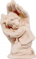 Mano protettrice da poggiare con bambino - Demetz - Deur - Statua in legno dipinta a mano. Altezza pari a 14 cm.
