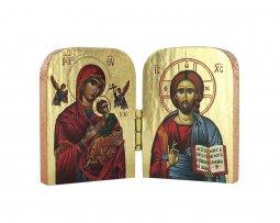 Copertina di 'Dittico stile icona, Cristo Pantocratore e Madonna di Vladimir, sfondo lucido, produzione greca in legno - 7 x 4,5 cm'