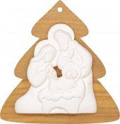 Albero di Natale in legno d'ulivo con Natività in resina bianca - dimensioni 9x9 cm
