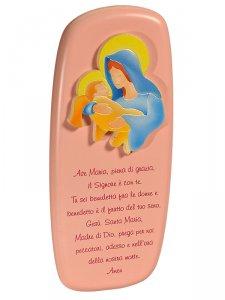 """Copertina di 'Icona """"Ave Maria"""" per bambini rosa - dimensioni 14x6 cm'"""