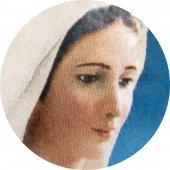 Immagine di 'Medaglia Madonna Medjugorje tonda in argento 925 e porcellana - 1,8 cm'