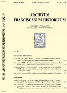 Archivum Franciscanum Historicum n. 2015/3-4