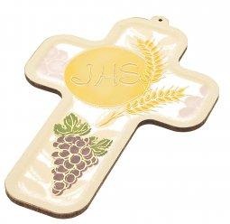 Copertina di 'Croce in legno bianca JHS (9x13)'