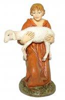 Pastore in ginocchio con agnello Linea Martino Landi - presepe da 10 cm