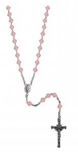 Copertina di 'Rosario cristallo rondello con grani mm 7 color rosa legatura in argento 925'
