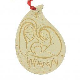 """Copertina di 'Goccia di legno con """"Natività"""" per albero di Natale - altezza 14 cm'"""