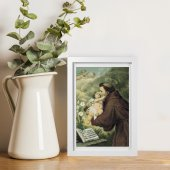 """Immagine di 'Quadretto """"Sant'Antonio di Padova con Bambinello"""" con passe-partout e cornice minimal - dimensioni 15x10 cm'"""