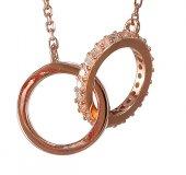 Immagine di 'Collana con due anelli intrecciati con strass in argento 925 con bagno in oro rosa'