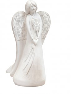"""Copertina di 'Statua in resina bianca """"Angelo e spighe"""" - altezza 19 cm'"""