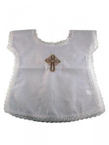 Copertina di 'Vestina bianca per Battesimo con croce grigia ricamata'