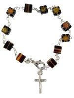 Bracciale rosario con grani in vetro nero