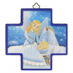 """Copertina di 'Croce in legno con lamina oro """"Angelo custode"""" per bambini - dimensioni 12x12 cm'"""