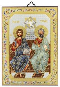 Copertina di 'Icona Trinità stampa su legno - 10 x 14 cm'