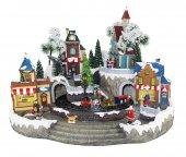 Villaggio natalizio con treno e negozi, movimento, luci, musica (47 x 34 x 37 cm)