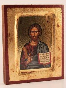 """Copertina di 'Icona stampata in legno """"Cristo Pantocratore"""" - dimensioni 14x10 cm'"""