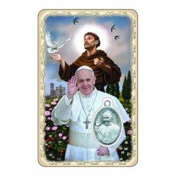 "Copertina di 'Card ""Papa Francesco e San Francesco d'Assisi"" con preghiera e medaglia - (10 pezzi)'"