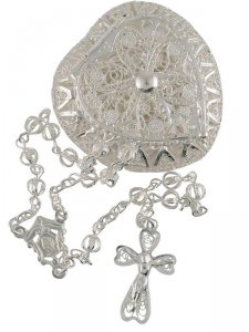 Copertina di 'Rosario in filigrana d'argento con portarosario'
