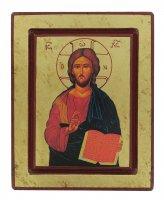 Icona Cristo Pantocratore con libro aperto, produzione greca su legno - 17 x 13,5 cm