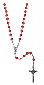 Copertina di 'Rosario cristallo rondello con grani mm 7 color rubino legatura in argento 925'