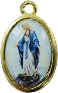 Copertina di 'Medaglia Madonna Miracolosa doppia in metallo dorato e resina - 2,5 cm'