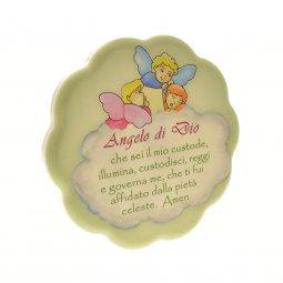 """Copertina di 'Quadretto verde con nuvola """"Angelo di Dio"""" - dimensioni 11x11 cm'"""