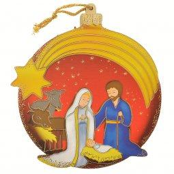 Copertina di 'Palla di Natale rossa con Natività per bambini - dimensioni 11x10 cm'