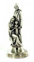 Statuetta Sacra Famiglia in metallo argentato con calamita - 5 cm