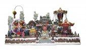 Villaggio natalizio gigante con luna park, movimento, luci, musica (85 x 50 x 60 cm)
