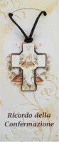 Bomboniera Cresima bambino/bambina: croce in legno con scatola in italiano - 5 cm