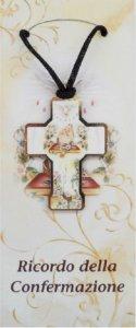Copertina di 'Bomboniera Cresima bambino/bambina: croce in legno con scatola in italiano - 5 cm'