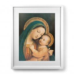"""Copertina di 'Quadro """"Madonna del Buon Consiglio"""" con passe-partout e cornice minimal - dimensioni 53x43 cm'"""