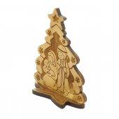 Immagine di 'Presepe in legno d'ulivo con albero di Natale - altezza 9 cm'