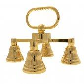 Gruppo di quattro campanelli in ottone dorato - dimensioni 13x14,5 cm