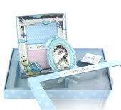 Set azzurro da regalo con Sopraculla e Cornice in argento - soggetto Tartaruga