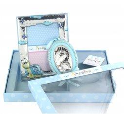 Copertina di 'Set regalo nascita/battesimo: sopraculla e cornice in argento 925 soggetto tartaruga'
