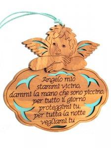 """Copertina di 'Angioletto in legno d'ulivo """"Angelo mio"""" su sfondo azzurro - dimensioni 13x13 cm'"""