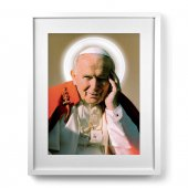 """Quadro """"Papa Giovanni Paolo II"""" con passe-partout e cornice minimal - dimensioni 53x43 cm"""