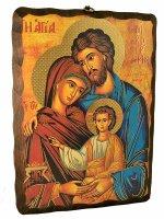 Quadro in legno massello da appendere con Sacra Famiglia (20x25)