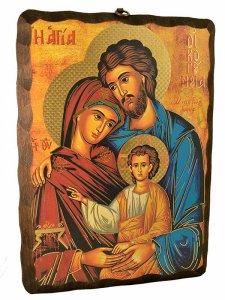"""Copertina di 'Quadro in legno massello """"Sacra Famiglia"""" - 20 x 25 cm'"""