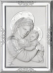 Copertina di 'Quadro Madonna col Bambino in argento 925 e legno - 17 x 13 cm'