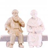 Nonno seduto H.K. - Demetz - Deur - Statua in legno dipinta a mano. Altezza pari a 11 cm.