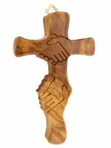"""Copertina di 'Croce """"dell'amicizia"""" in legno d'ulivo - altezza 15 cm'"""