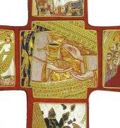 Immagine di 'Croce stampa Passione di Padre Rupnik su legno cm 9x13,5 con scatola e spiegazione'